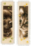 "PNV155362 Vervaco Kit Cat & Dog Bookmarks (Set of 2) 2.4"" x 8""; Ecru Aida ; 14ct"