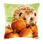 "PNV155865 Vervaco Kit Hedgehog with Apples Cushion 16"" x 16"""
