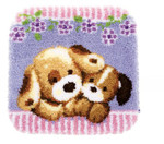 PNV155031 Vervaco Kit Cuddling Dogs Latch Hook Rug