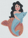 LL510U Labors Of Love Mini Mermaid with Dolphin 4x5.75 on 18 Mesh