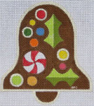 HO1179 GINGERBREAD BELL 4 3/8 x 4 3/4 18 Mesh Raymond Crawford Designs
