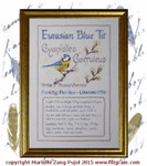 F-EBTOIC Eurasian Blue Tit - Ornithological Index Card Dinky-Dyes Filigree