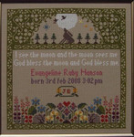 Moira Blackburn Samplers MBTMS The Moon Sampler (Guest House) Stitch Count: 147 x 169