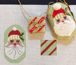 AW-45 Santa w/ Present Scissor Case stitch guide available 2 ½ x 4 ¼ & 1 ¾ x 1 ½ 18 Mesh  Danji Designs ANN WINN