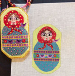 AW-44 Russian Doll Necklace Scissor Case stitch guide available 2 ½ x 4 ½ 18 Mesh  Danji Designs ANN WINN