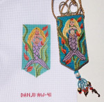 AW-41 Mazzy's Mermaid Necklace Scissor Case stitch guide available 2 ¼ x 4 18 Mesh Danji Designs ANN WINN