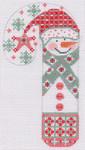 CH-28 Snowman Blue Snowflakes Candy Cane 2 ¾ x 5 ¼ 18 Mesh Danji Designs CH Designs