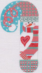 CH-25 Snowman Heart Candy Cane 2 ¾ x 5 ¼ 18 Mesh Danji Designs CH Designs