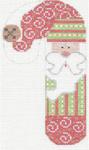 CH-21 Santa with Swirls Candy Cane 2 ¾ x 5 ¼ 18 Mesh Danji Designs CH Designs