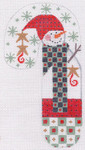 CH-12 Snowman with Scarf Candy Cane With stitch guide 3 ½ x 6 ½ 18 Mesh Danji Designs CH Designs