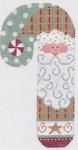 CH-11 Peppermint Santa Candy Cane With stitch guide 3 ½ x 6 ½ 18 Mesh Danji Designs CH Designs
