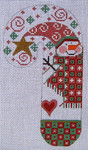 CH-10 Snowman Candy Cane 3 ½ x 6 ½ 18 Mesh Danji Designs CH Designs