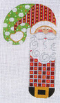 CH-08 Checkered Santa Candy Cane 3 ½ x 6 ½ 18 Mesh Danji Designs CH Designs