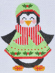 CH-85 Penguin Girl 2 stitch guide available  3 x 3 ½ 18 Mesh Danji Designs CH Designs