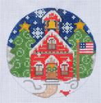 "CH-76 School House Ornament 4"" Round 18 Mesh Danji Designs CH Designs"