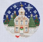 "CH-75 Church Ornament 4"" Round 18 Mesh Danji Designs CH Designs"