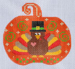 CH-142 Turkey Pumpkin stitch guide available 3 ½ x 3 ¼ 18 Mesh Danji Designs CH Designs
