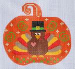 CH-142 Turkey Pumpkin With stitch guide 3 ½ x 3 ¼ 18 Mesh Danji Designs CH Designs