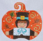 CH-141 Pilgrim Boy Pumpkin With stitch guide 3 ½ x 3 ¼ 18 Mesh Danji Designs CH Designs