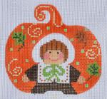 CH-140 Pilgrim Girl Pumpkin18 With stitch guide 3 ½ x 3 ¼ 18 Mesh Danji Designs CH Designs