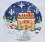 "CH-128 Brown House Ornament 4"" Round 18 Mesh Danji Designs CH Designs"