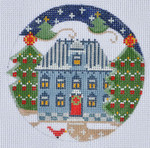 "CH-127 Blue House Ornament 4"" Round 18 Mesh Danji Designs CH Designs"