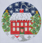 "CH-126 Red House Ornament 4"" Round 18 Mesh Danji Designs CH Designs"