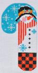 CH-107 Flowered Hat Snowman Candy Cane  2 ¾ x 5 ¼ 18 Mesh Danji Designs CH Designs