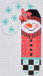 CH-108 Pink and Black Snowman Candy Cane 2 ¾ x 5 ¼ 18 Mesh Danji Designs CH Designs