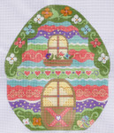 CH-115 Spring Egg House stitch guide available 7 ¼ x 9 ¼ 18 Mesh Danji Designs CH Designs