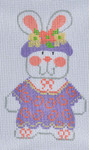 CH-117 Girl Bunny 1 With stitch guide 2 ½ x 4 18 Mesh Danji Designs CH Designs