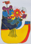 LB-103 Bear with Flowers 5 ¾ x 8 ½ 18 Mesh Danji Designs LAUREL BURCH