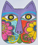 LB-102 Floral Cat Face 4 ½ x 5 ½ 18 Mesh Danji Designs LAUREL BURCH