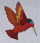 LB-82 Red Hummingbird 5 x 5 18 Mesh Danji Designs LAUREL BURCH