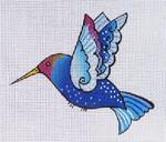 LB-84 Blue Hummingbird 5 x 4 18  Mesh Danji Designs LAUREL BURCH