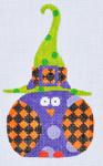 TL-02 Orange Checkered Witch Owl 3 x 5 18 Mesh Danji Designs TINA LEDBETTER