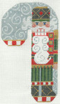CH-14 Nutcracker Santa Scarf Candy Cane With stitch guide available 3 ½ x 6 ½ 18 Mesh Danji Designs CH Designs