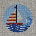 CB-7 Sailboat Ornament With Stitch Guide 4 inch circle 18 Mesh Danji CHRISTINE SAUNDERS