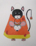 LD-04 Candy Corn Black Cat 3 ¼ x 4 ½ 18 Mesh LAINEY DANIELS