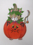 LD-05 Cat in Pumpkin 3 ¼ x 5 18 Mesh LAINEY DANIELS