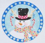 """LD-42 Snowman Ornament   4"""" Round 18 Mesh LAINEY DANIELS"""