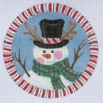 """LD-19 Snowman Ornament 4"""" Round 18 Mesh LAINEY DANIELS"""