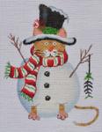 LD-23 Snowman Cat 3 ½ x 4 ½ 18 Mesh LAINEY DANIELS