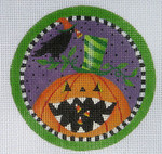 "LD-39 Pumpkin and Crow Ornament 4"" Round 18 Mesh LAINEY DANIELS"