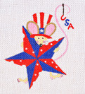 LD-33 Fourth of July Mouse  4 ¼ x 5 18 Mesh LAINEY DANIELS