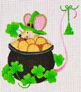 LD-35 St. Patrick's Day Mouse 4 ½ x 4 18 Mesh LAINEY DANIELS
