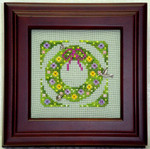 Spring Wreath Cross Stitch with 3 charms included Handblessings