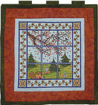 Autumn Window Quilt with 4 charms Handblessings
