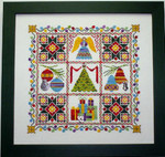 Bright and Merry Christmas Tree Quilt with 5 charms Handblessings