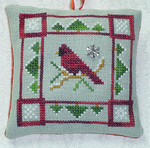 Cardinal in Winter with 1 charm included Handblessings